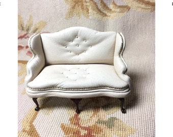Wing Sofa Genuine Leather - By Pat Tyler Leather Dollhouse Miniatures