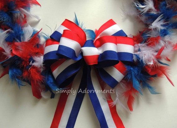 Red White Blue Stripes Bow Patriotic Wreath Bow July 4th Wreath Bow Fourth of July Bow July 4th Party Decor Independence Decor Bow Gift Bow