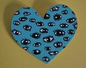 Heart Shaped Eye Pattern Brooch