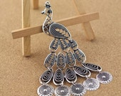 4pcs antique silver plated  peacock  Finding