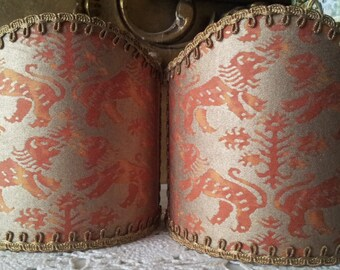 Pair of  Wall Sconce Clip-On Shield Shades Fortuny Fabric Bittersweet & Silvery Gold Richelieu Pattern  Mini Lampshade - Handmade in Italy