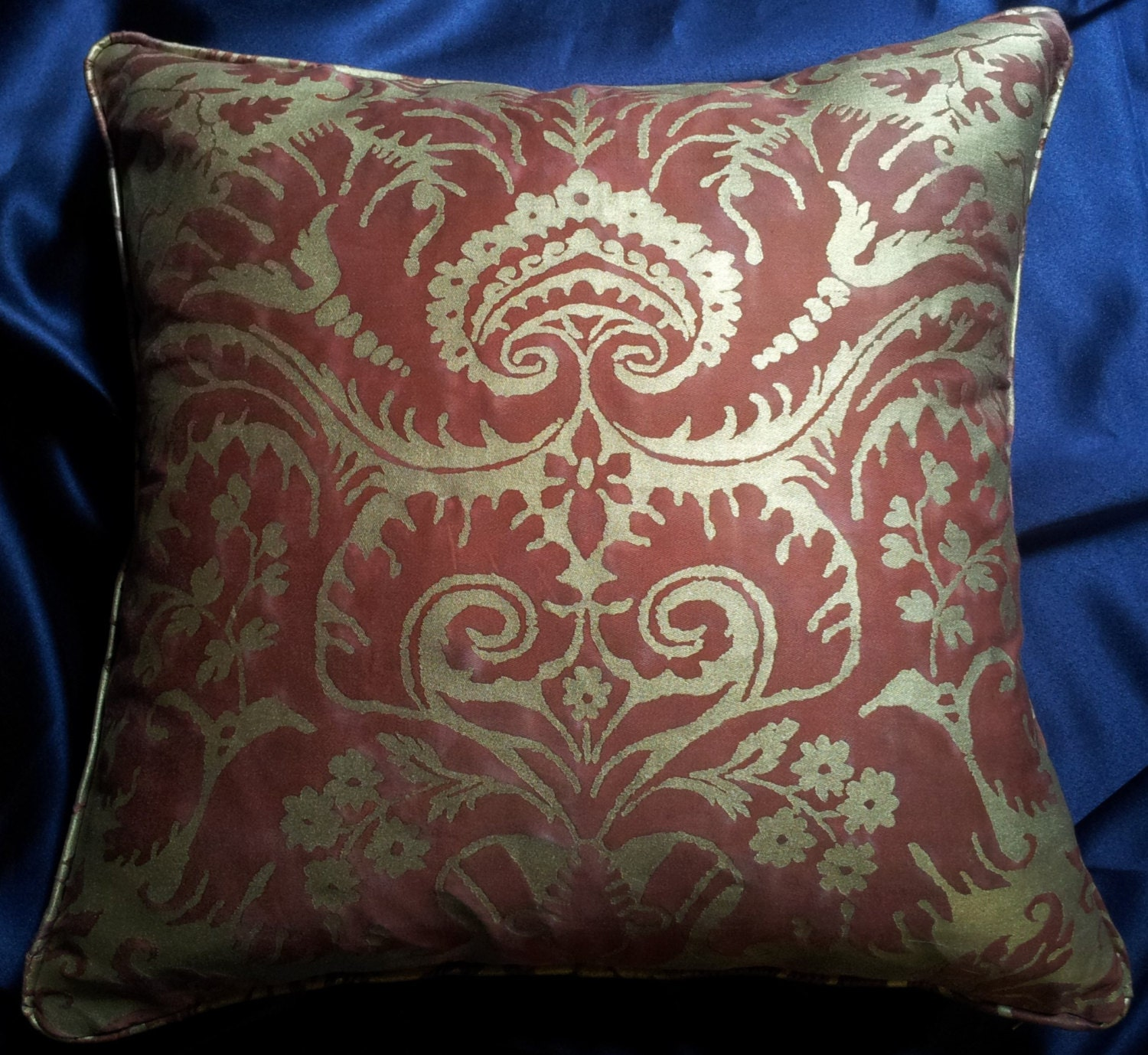 Throw Pillow Cover Fabric : Fortuny Fabric Throw Pillow Cushion Cover Red & Silvery Gold