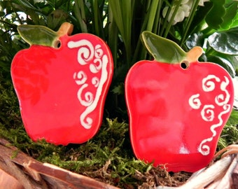 Apple Ornaments Red Green Ceramic Fruit  Summer Home Decoration Gift Set of 2
