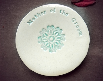Mother of the Groom Wedding Gift Ring Holder Ceramic Plate Flower Mandala Ring Dish Ivory Jewelry Dish