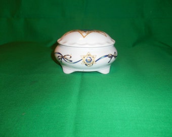 One (1), Porcelain Box with Lid, in a Star of David Design, Signed Davida.