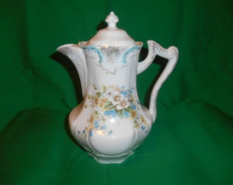 """One (1), 8 1/2"""" Tall, Chocolate Pot, in a Floral Pattern. Unknown Maker."""