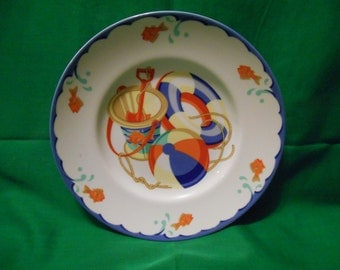 """One (1), 7"""" Child's Plate, from Tiffany & Co., in the Tiffany Seashore Pattern."""