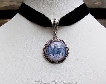 Bat Velvet Choker - Altered Art - Bat jewelry - Gothic jewelry - magical
