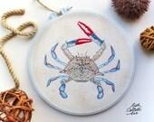 Blue Crab, Coastal Cottage Decor, Embroidery Hoop Art, Beach House, Beach Cottage Decor, Nautical Wall Art, Shore House, Vacation Thank You