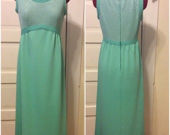 1960s Seafoam and Silver Party Cocktail Formal Dress maxi sz s/m