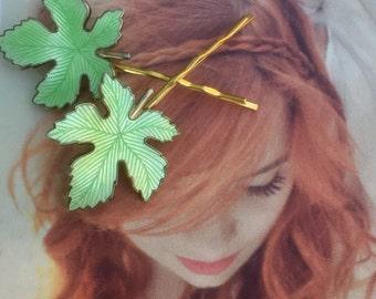 Green Leaf Leaves Hair Pins 1940 Vintage Woodland Goddess Bridal Wedding Fairytale Fantasy Guilloche Enamel Decorative Hairpins Bobby Pins