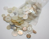 Vintage Lot Of 125 Clear, White, Off White, Cream, and Irridescent Buttons, Small and Large Great for Crafts, sewing, design, repairs,Supply