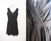 Vintage 60s Black Chiffon Miss Elliette Party Dress / Party /Prom / Wedding