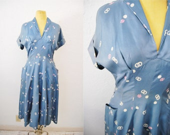 Vintage 40s Dress Blue Bias Cut Circle Print Large Pocket Full Skirt Womens Clothing