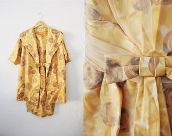Vintage 1950s 1960s Yellow Brown Chiffon Bow Dress and Coat Set Algo