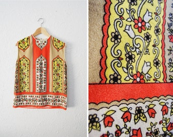 Vintage 1960s Retro Print Top Bright Colorful Polyester Tank Shirt / Regal / Womens Clothing / Sixties