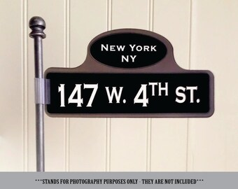 Customizable Old New York Street Sign Table Numbers