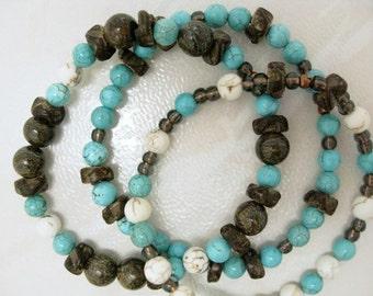 Turquoise Bracelet handmade bead bracelet stretch bracelet gift for her gift for him Birthday unisex bracelet wood jewelry howlite bracelet