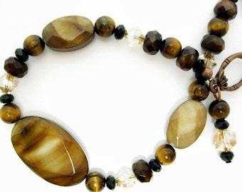 Tiger Eye Beaded Bracelet shell handmade beadwork swarovski crystal glass rondelles copper toggle antiqued