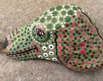 Happy Rock - Tiny Spotted Avocado Green Spaniel Puppy - Hand-Painted River Rock - dog doggie