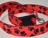 Paw Print on Red Fabric Lanyard, Badge Reel, Stethoscope Clip