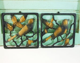 Vintage Metal Bird Wall Hangings Robin and Mockingbird by J. Basler Black and Gold