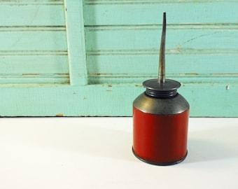 Vintage Red Metal Oil Can Industrial Mechanical Oil