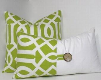 2 PC Decorative Pillow Cover Set ~ Green apple pillows. Richloom Sedro large geometric. Button pillows. Sofa pillow set
