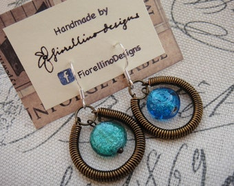 Coil and glass drop earrings