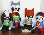 Woodland Crusader Dolls, Flying Fox, Cloth Doll, Fox Superhero Doll, Fabric Dolls, Soft Dolls, Softies