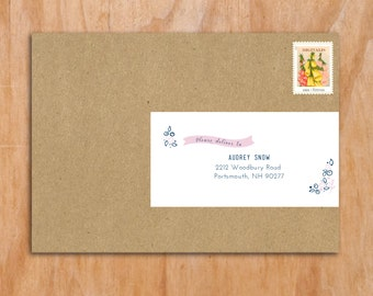 25 PRINTED Personalized Wraparound Mailing Address Labels - Wedding - Baby Shower, Floral, Pink, Cute Labels, Baby, Cursive, Ribbon Labels