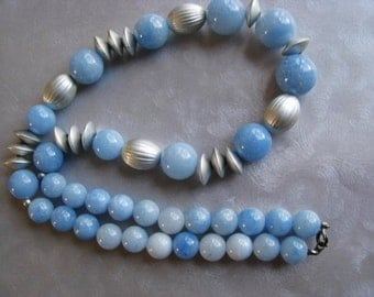 Statement Necklace - Light Blue Beaded Necklace - Vintage Blue and Silver Necklace