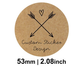 53mm Circle (2.08 inches) Kraft Round Custom Stickers/Labels for Product Labels, Wedding Seals, Packaging