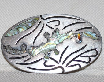 Inlaid Abalone and Sterling Silver Brooch Taxco