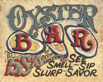 Oyster Bar Print  seafood decor , shellfish