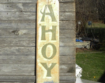 Ahoy / Welcome Beach   Sign, hand painted, original, wooden functional art ZM B4