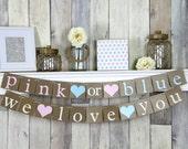 Pink or Blue We Love You, Pink or Blue Banner, Gender Reveal Banner, Gender Reveal Decor, Gender Reveal Ideas, Gender Reveal Shower