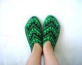 womens slippers, Neon Green and black Traditional Turkish Anatolia knit Slippers, adult slippers, womens home shoes, christmas gifts for her