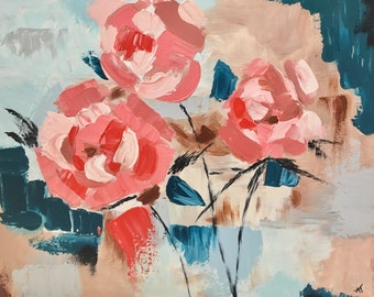 Dusty Roses original abstract floral painting, 16x20 inches
