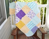 Crib Size Rag Quilt- Ready to ship quilt, Purple quilt, yellow quilt, aqua quilt, you are my sunshine quilt, rag quilt, girl quilt