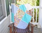 Crib Rag Quilt- Owl Quilt, Baby girl rag Quilt, Blue Rag Quilt, Floral Rag Quilt, Ready to ship rag quilt