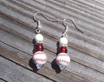 Red and White Baseball Earrings