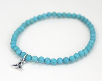 Turquoise Howlite Stretch Bracelet with Trinity Charm / Gifts under 20