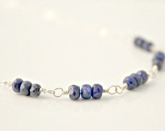 Sapphire and Sterling Silver Necklace / Gemstone Jewelry / September Birthstone / Mother's Day / Precious Gemstone