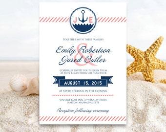 Printable Nautical Wedding Invitations Navy and Coral Ocean Summer Invite EDITABLE Sea Seaside / Beach Cards Template Diy INSTANT DOWNLOAD