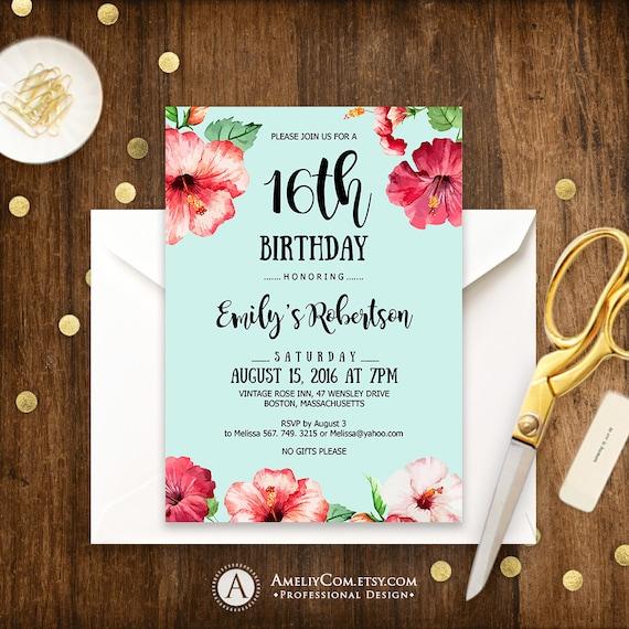 sweet 16 birthday party invitations printable tropical hawaii