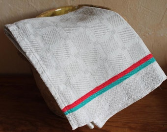 Hemp Towel Striped red and Green  / Vintage French Tea towel, torchon