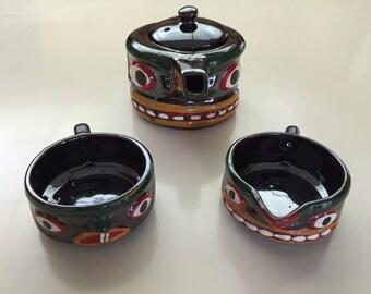 Vintage 40s Ceramic Stacking Totem Tea Set