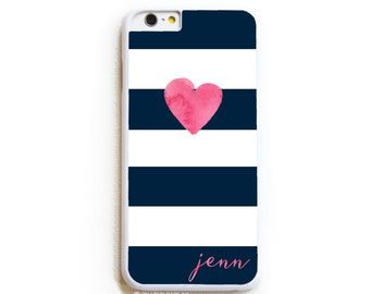 iPhone 6 Case. Monogram Phone Case. Monogram iPhone 6 Case. Navy Stripe Pink Heart. Phone Case. iPhone Case.
