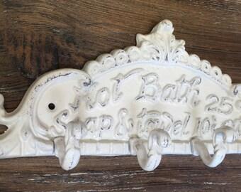 Cast iron wall hook, Cast iron hook, Wall hooks, Decorative wall hook, bathroom hook, Shabby Chic coat rack, French Country Hot Bath Hook